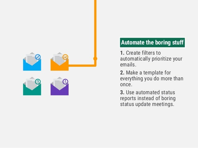 Automate the boring stuff 1. Create filters to automatically prioritize your emails. 2. Make a template for everything you...