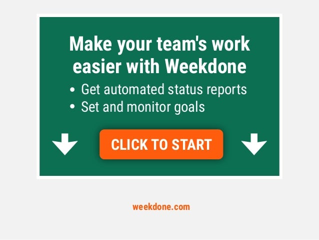 weekdone.com CLICK TO START Make your team's work easier with Weekdone Get automated status reports Set and monitor goals