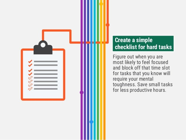 Figure out when you are most likely to feel focused and block off that time slot for tasks that you know will require your...