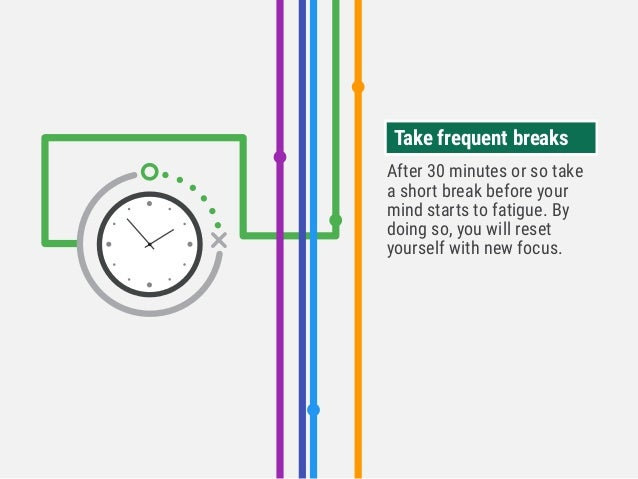 After 30 minutes or so take a short break before your mind starts to fatigue. By doing so, you will reset yourself with ne...
