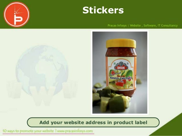 StickersAdd your website address in product label
