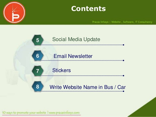 Contents5    Social Media Update6    Email Newsletter7    Stickers8   Write Website Name in Bus / Car