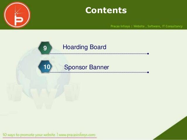 Contents9    Hoarding Board10   Sponsor Banner