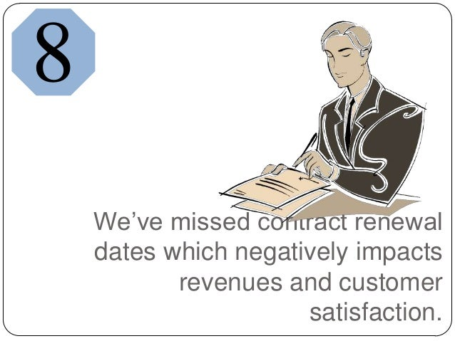 We've missed contract renewaldates which negatively impactsrevenues and customersatisfaction.8
