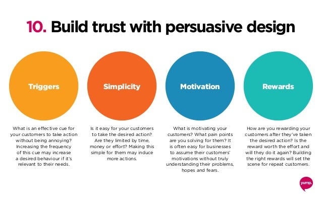 10. Build trust with persuasive design What is an effective cue for your customers to take action without being annoying? ...