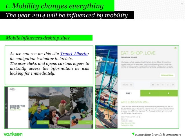 1. Mobility changes everything The year 2014 will be influenced by mobility  Mobile influences desktop sites As we can see...