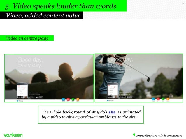 5. Video speaks louder than words Video, added content value  Video in centre page  The whole background of Any.do's site ...