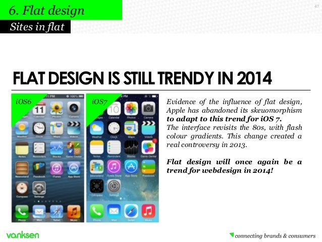 6. Flat design  47  Sites in flat  FLAT DESIGN IS STILL TRENDY IN 2014 iOS6  iOS7  Evidence of the influence of flat desig...
