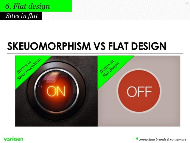 6. Flat design Sites in flat  SKEUOMORPHISM VS FLAT DESIGN  48