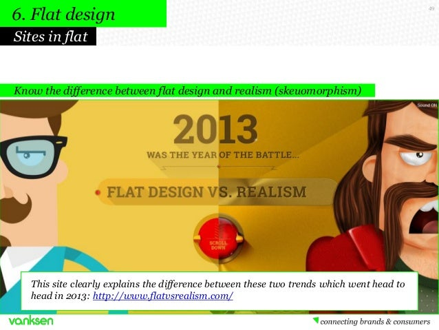 6. Flat design Sites in flat  Know the difference between flat design and realism (skeuomorphism)  This site clearly expla...
