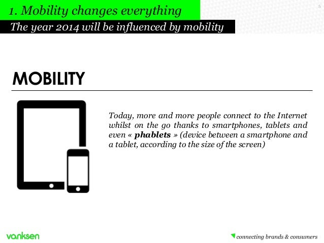 1. Mobility changes everything The year 2014 will be influenced by mobility  MOBILITY Today, more and more people connect ...