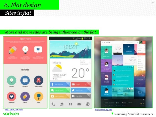 6. Flat design  50  Sites in flat  More and more sites are being influenced by the flat  http://bit.ly/1m7tUA1  http://bit...