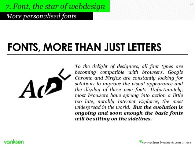 7. Font, the star of webdesign More personalised fonts  FONTS, MORE THAN JUST LETTERS To the delight of designers, all fon...