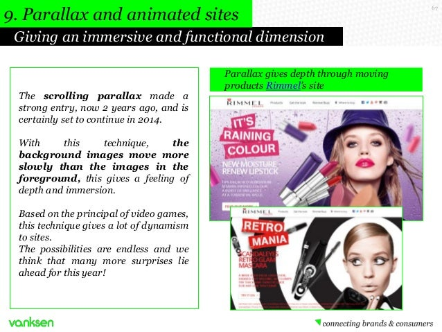 9. Parallax and animated sites Giving an immersive and functional dimension  The scrolling parallax made a strong entry, n...