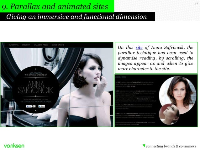 9. Parallax and animated sites  68  Giving an immersive and functional dimension  On this site of Anna Safroncik, the para...