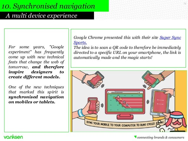 """10. Synchronised navigation A multi device experience  For some years, """"Google experiment"""" has frequently come up with new..."""