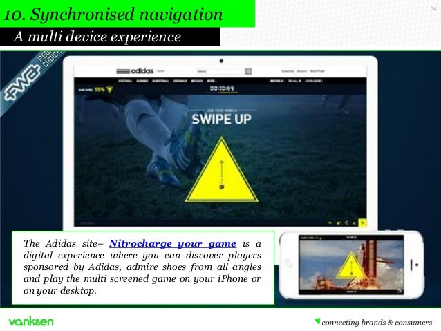 10. Synchronised navigation A multi device experience  The Adidas site– Nitrocharge your game is a digital experience wher...