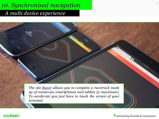 10. Synchronised navigation A multi device experience  The site Racer allows you to complete a racetrack made up of numero...