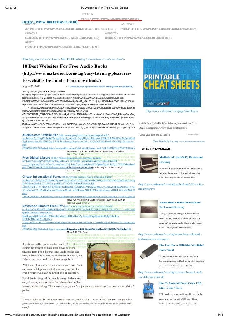 9/16/12                                                                  10 Websites For Free Audio Books           MakeUs...