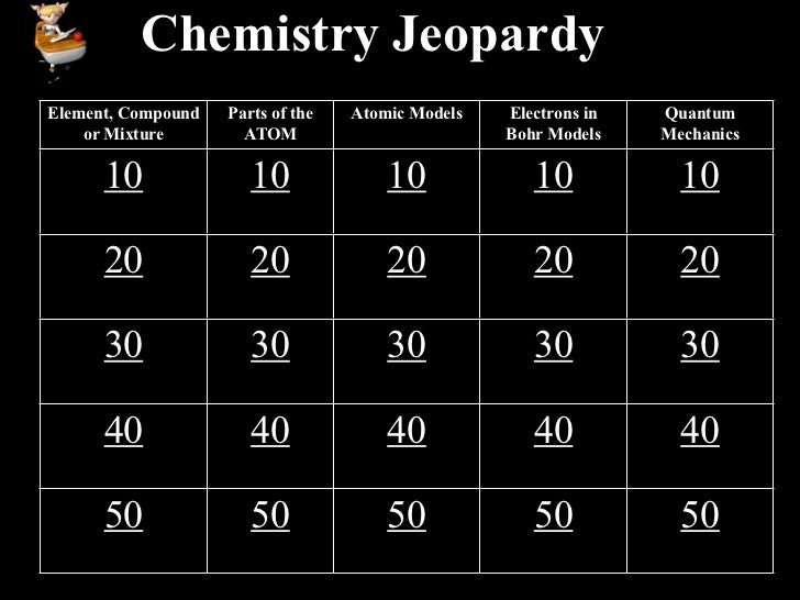Chemistry JeopardyElement, Compound   Parts of the   Atomic Models   Electrons in   Quantum    or Mixture        ATOM     ...