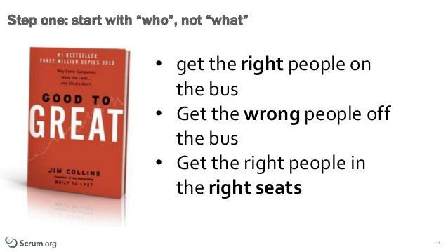 """©1993 – 2019 Scrum.org All Rights Reserved 11 Step one: start with """"who"""", not """"what"""" • get the right people on the bus • G..."""