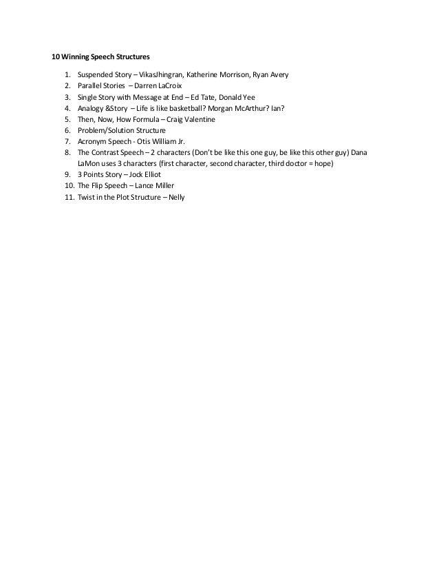 10 Winning Speech Structures   1.  Suspended Story – VikasJhingran, Katherine Morrison, Ryan Avery   2.  Parallel Stories ...