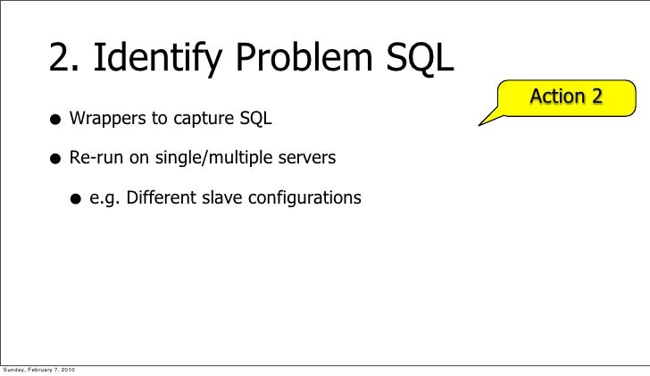 2. Identify Problem SQL                                                         Action 2               • Wrappers to captu...