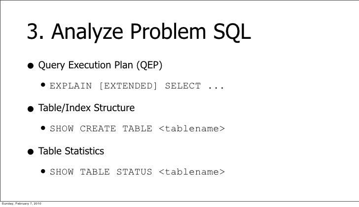 3. Analyze Problem SQL               • Query Execution Plan (QEP)                 • EXPLAIN [EXTENDED] SELECT ...         ...