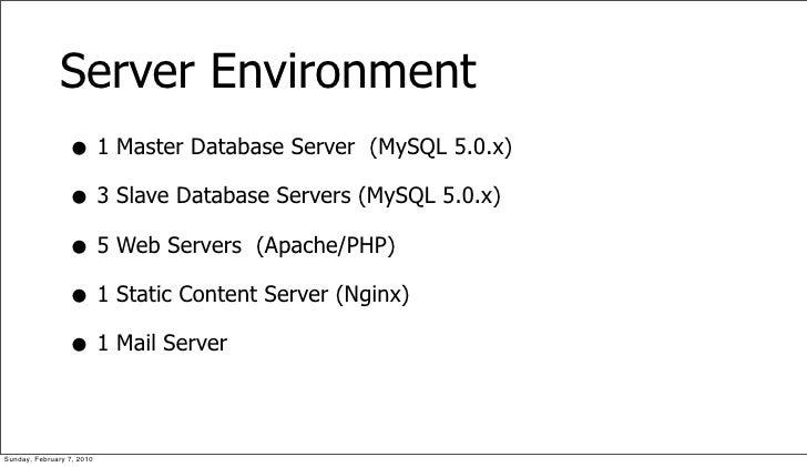 Server Environment                  • 1 Master Database Server (MySQL 5.0.x)                  • 3 Slave Database Servers (...