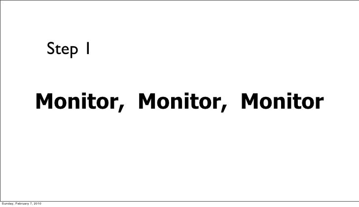 Step 1                       Monitor, Monitor, Monitor    Sunday, February 7, 2010