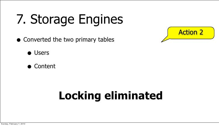 7. Storage Engines                                                    Action 2               • Converted the two primary t...