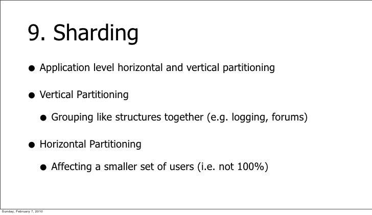 9. Sharding               • Application level horizontal and vertical partitioning               • Vertical Partitioning  ...