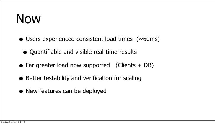Now                  • Users experienced consistent load times (~60ms)                   • Quantifiable and visible real-t...