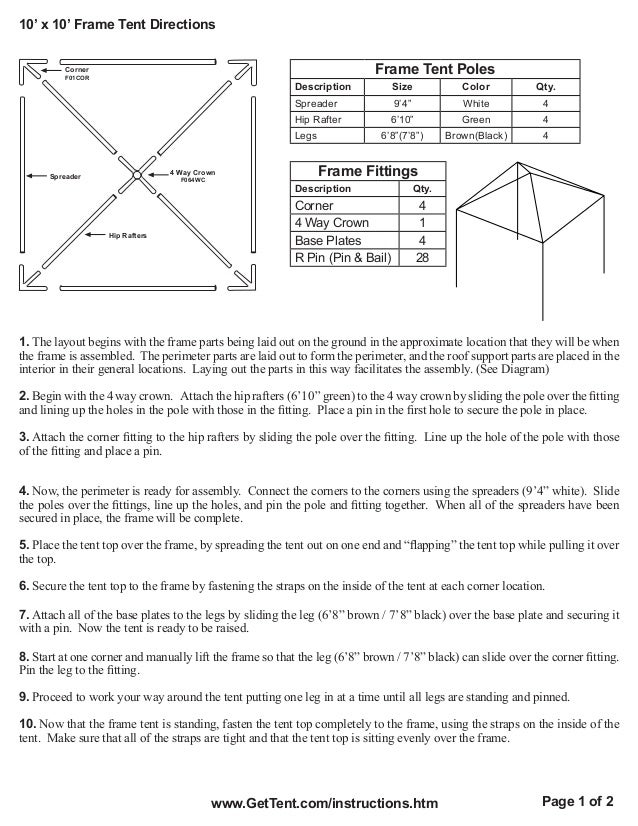 10 X 10 Frame Tent Installation Instructions