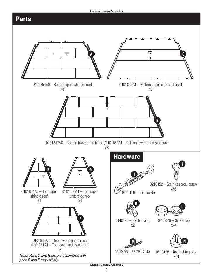 10 x 10 ft. gazebo assembly instruction