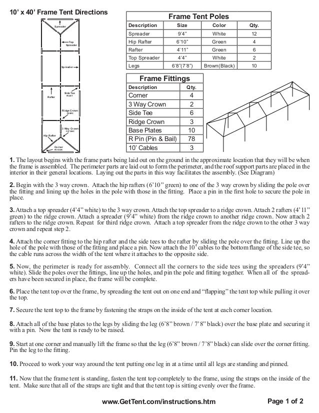 10 X 40 Frame Tent Installation Instructions