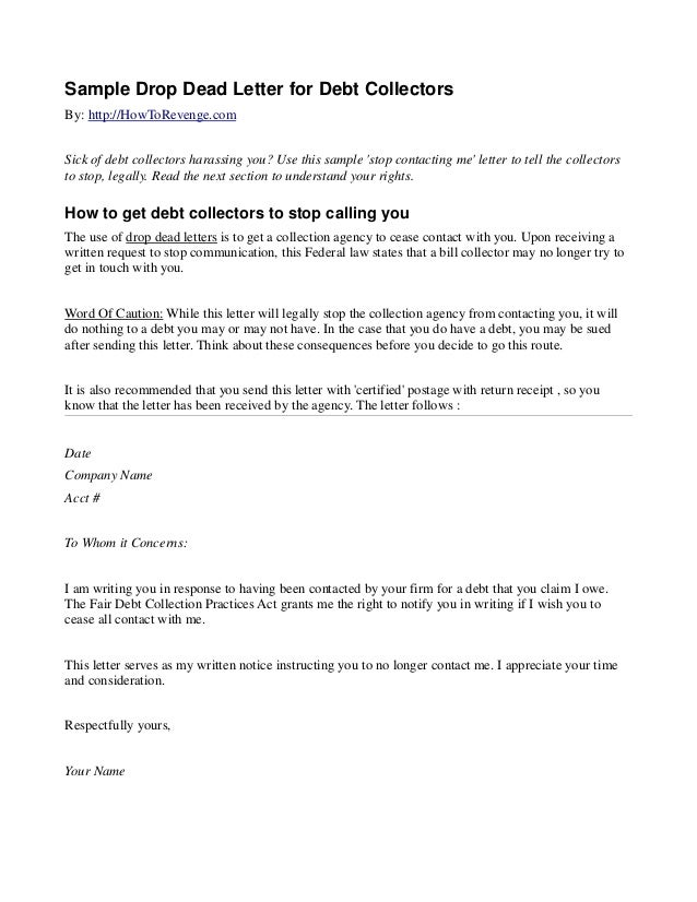 sample drop dead letter for debt collectors by httphowtorevengecom