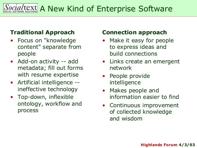 """Highlands Forum 4/3/03A New Kind of Enterprise SoftwareTraditional Approach• Focus on """"knowledgecontent"""" separate frompeop..."""
