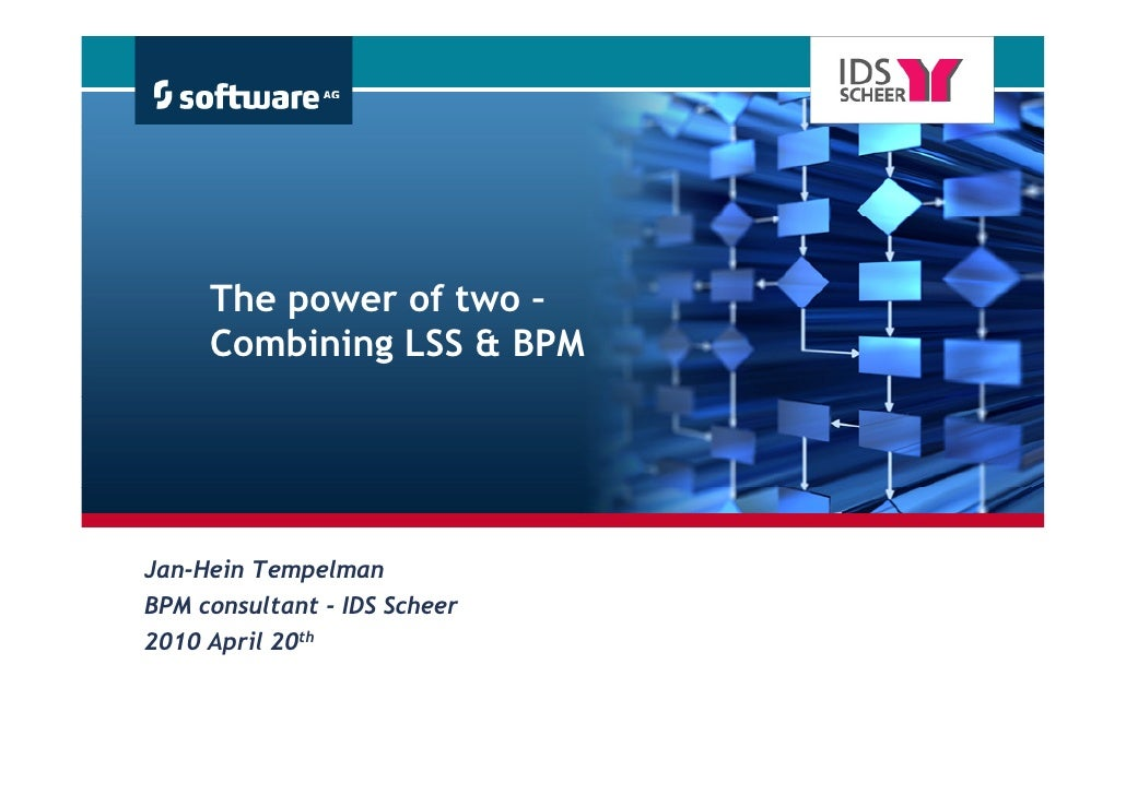 The power of two –      Combining LSS & BPM     Jan Hein Jan-Hein Tempelman BPM consultant - IDS Scheer 2010 April 20th