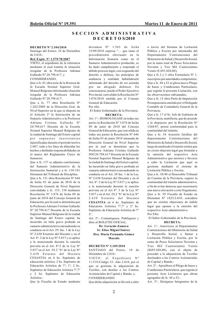Boletín Oficial Nº 19.391                                                                 Martes 11 de Enero de 2011      ...