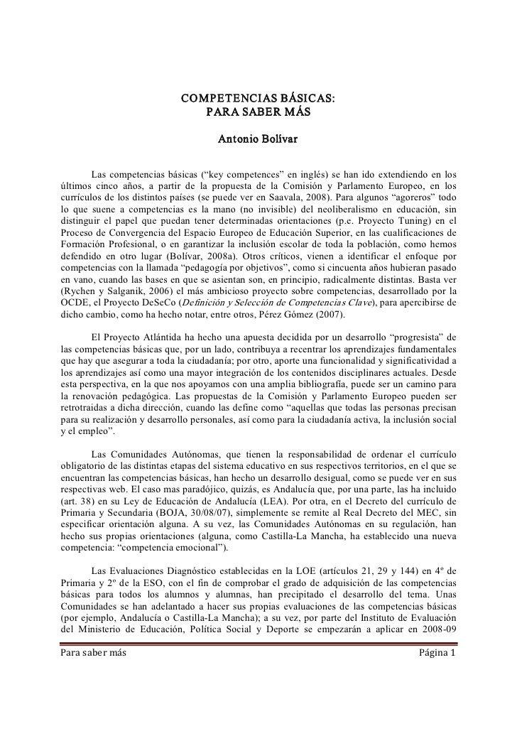 COMPETENCIASBÁSICAS:                                   PARASABERMÁS                                          Antonio...