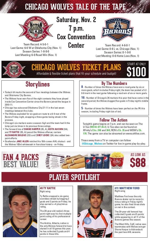 CHICAGO WOLVES TALE OF THE TAPE Saturday, Nov. 2 7 p.m. Cox Convention Team Record: 4-5-0-1 Team Record: 4-6-0-1 Center La...