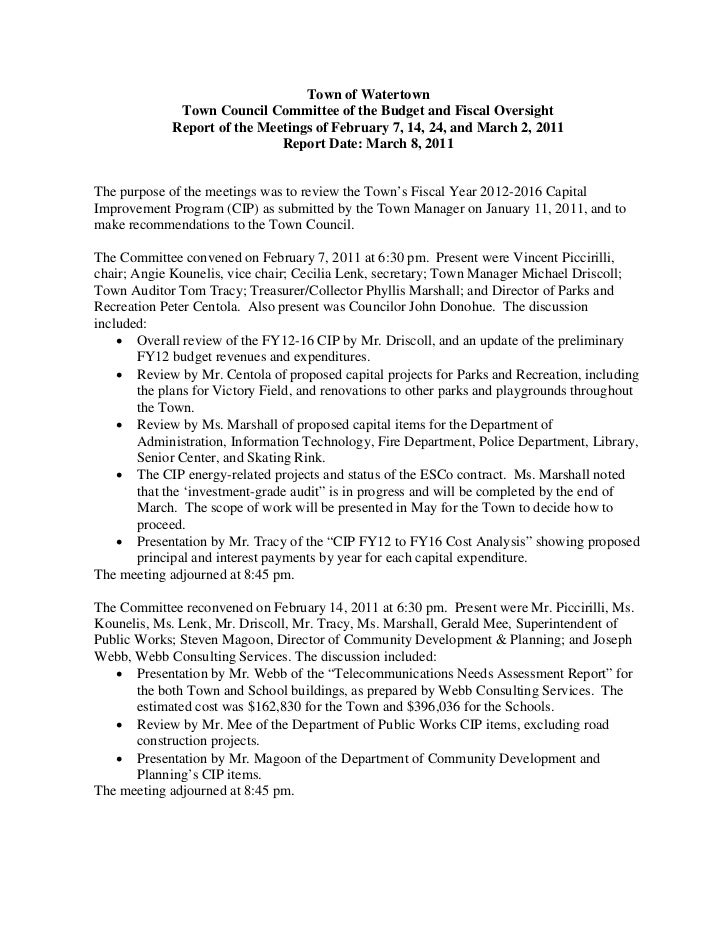 Town of Watertown              Town Council Committee of the Budget and Fiscal Oversight             Report of the Meeting...