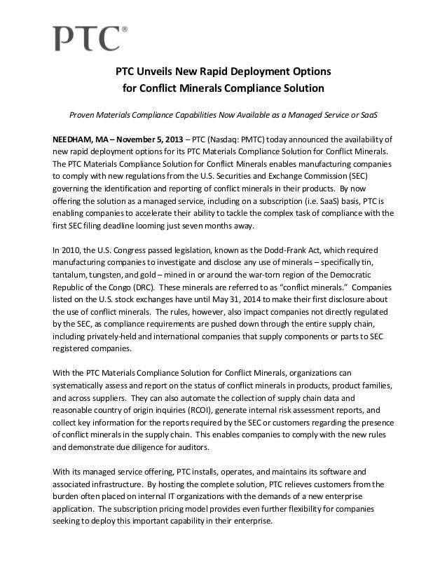 PTC Unveils New Rapid Deployment Options for Conflict Minerals Compliance Solution Proven Materials Compliance Capabilitie...