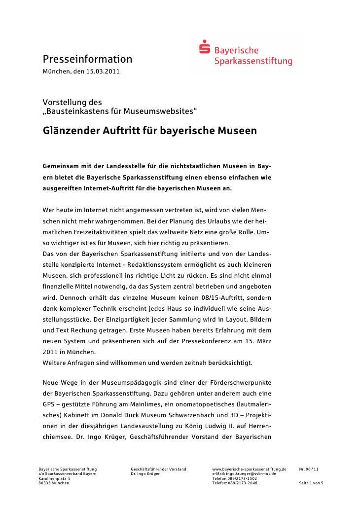 """Presseinformation  München, den 15.03.2011  Vorstellung des  """"Bausteinkastens für Museumswebsites""""  Glänzender Auftritt fü..."""