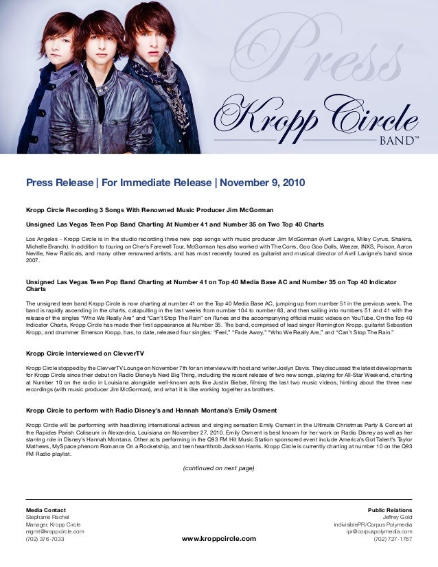 Media Contact Stephanie Rachel Manager, Kropp Circle mgmt@kroppcircle.com (702) 376-7033 Public Relations Jeffrey Gold ind...