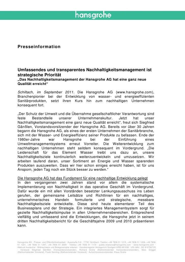 """PresseinformationUmfassendes und transparentes Nachhaltigkeitsmanagement iststrategische Priorität""""Das Nachhaltigkeitsmana..."""