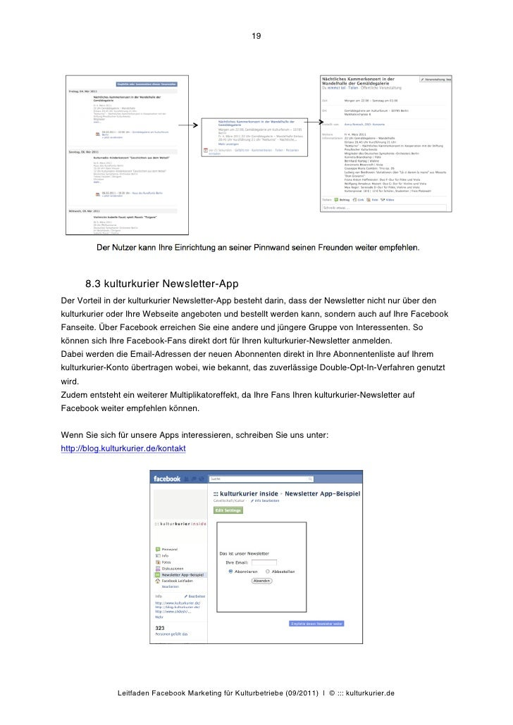 19        8.3 kulturkurier Newsletter-AppDer Vorteil in der kulturkurier Newsletter-App besteht darin, dass der Newsletter...
