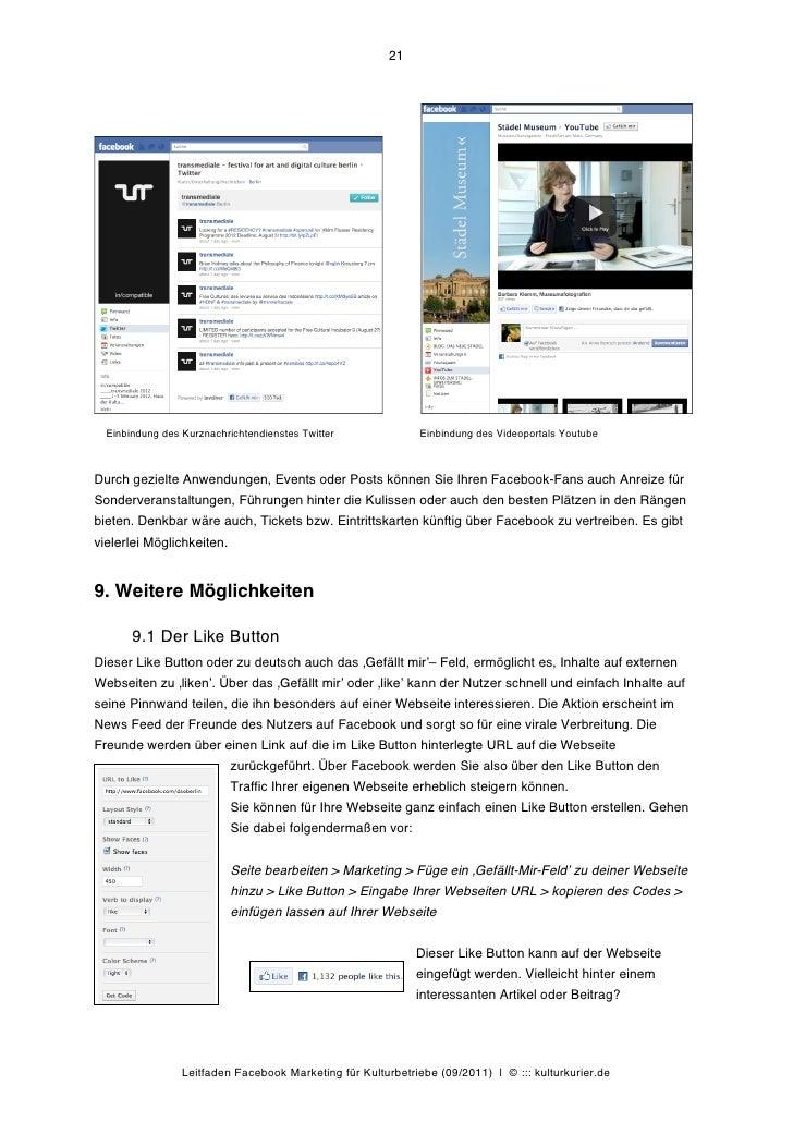 21  Einbindung des Kurznachrichtendienstes Twitter              Einbindung des Videoportals YoutubeDurch gezielte Anwendun...