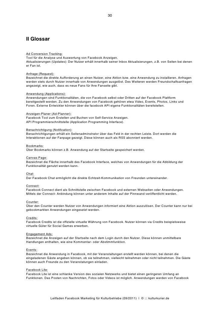30II GlossarAd Conversion Tracking:Tool für die Analyse und Auswertung von Facebook Anzeigen.Aktualisierungen (Updates): D...